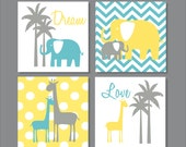 Elephants, Giraffe, Palm Tree, Yellow, Children's Wall Art, Nursery Wall Art- Set of four stretched canvas