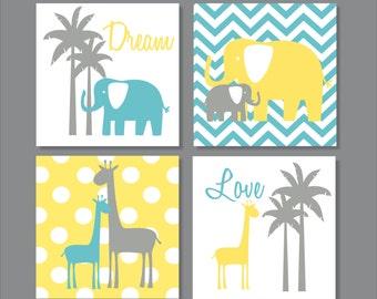 Elephants, Giraffe, Palm Tree, Yellow, Children's Wall Art, Nursery Wall Art- Set of four stretched canvas