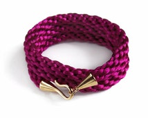 Magenta Wrap bracelet with gold hook and eye clasp