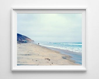 Surf Art, Beach Decor - Surfer on Torrey Pines Beach in San Diego - California Beach Photography - Small and Large Art Prints Available