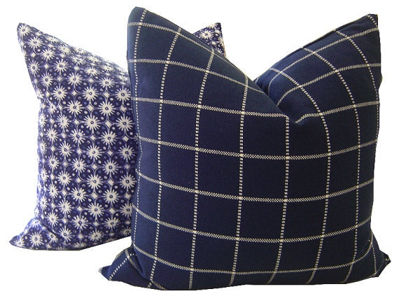 Decorative Plaid Pillows : Navy Pillows Plaid Pillow Decorative by CaliforniaLivinHome