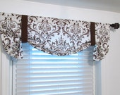 Italian Brown Damask Tie Up Curtain Valance HANDMADE in the USA