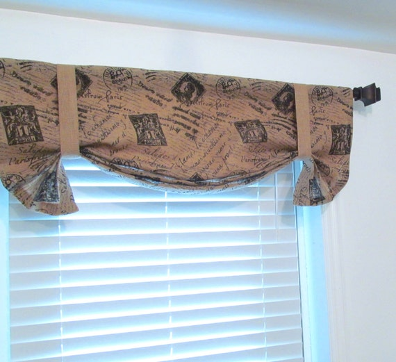 Valance W Burlap Ties And: Items Similar To Made To Order French Stamp Printed Burlap TIE UP Curtain Valance On Etsy