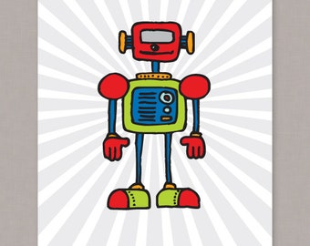 PRINTABLE Robot Illustration 8x10 poster  -- PDF digital file