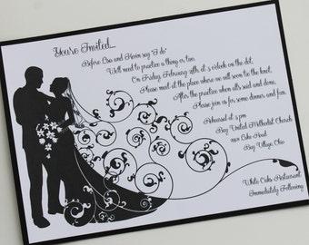 Bride and Groom Wedding Rehearsal Invitation