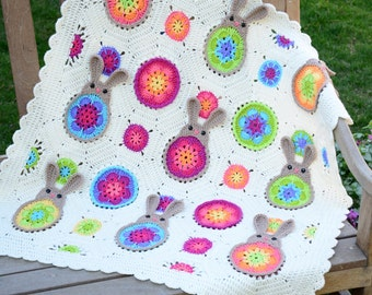 "CROCHET PATTERN - Bunnies ""R"" Us - a blooming bunny afghan pattern, crochet blanket pattern with colorful bunnies - Instant pdf Download"