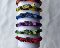 Birthday party favors loot bag fillers party pack of 6 loom rubber band bracelets race car theme