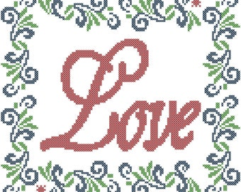 Love Cross Stitch Pattern/Border Cross Stitch Pattern/Cross Stitch Border Pattern/Cross Stitch Pattern/Modern Cross Stitch Pattern/PDF File