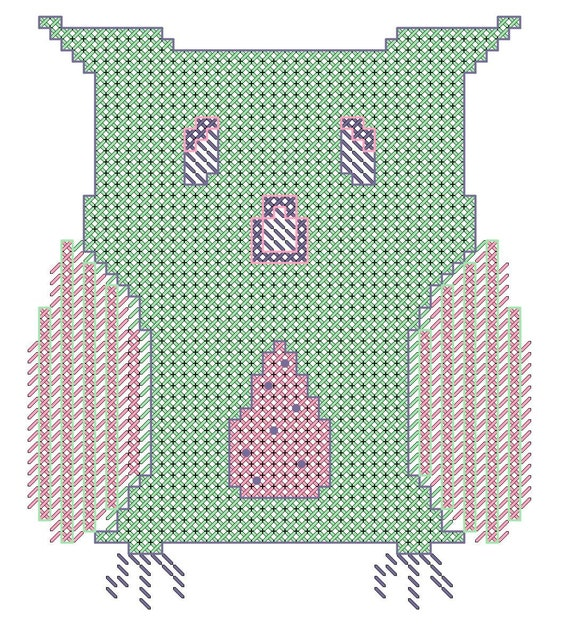 Modern Cross Stitch Owl Pattern for Baby Girls
