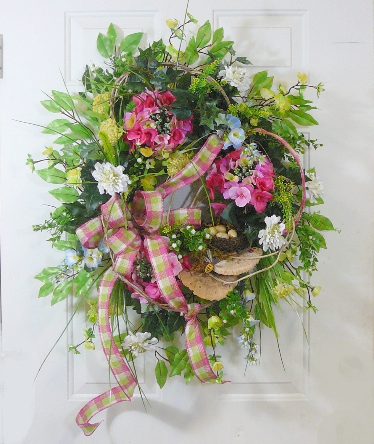 X Spring & Summer Outdoor Wreath With Bird nest and