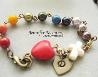 Rosary Bracelet, Unique Rainbow Rosary, Swarovski Pearls,  Antique Bronze, Personalized,  Baptism Gift, Confirmation Gift