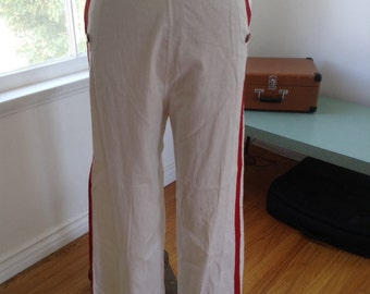 SALE! 1930s White Cotton Pants Red Stripe Red Buttons waist up to 27 inches