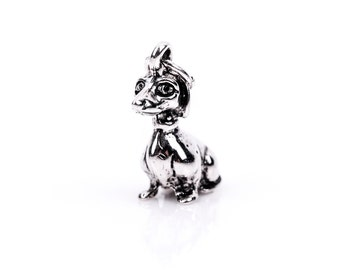 3D Sitting PUPPY DOG Sterling Silver Charm Pendant,  pms0065