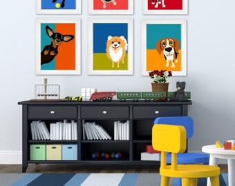 Colorblock Dog prints- Set of 6