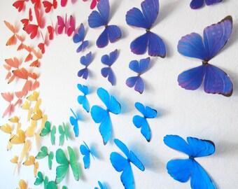 3D Rainbow Wall Butterflies- Set of 70