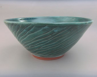 Turquoise Pottery  Serving Bowl -  Glazed Terracotta