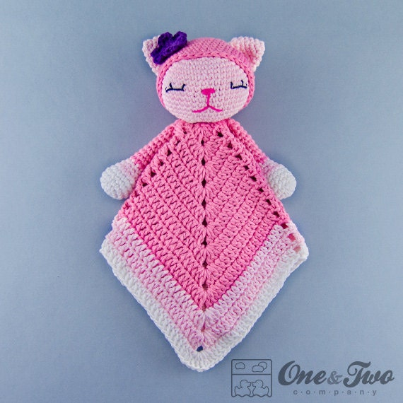 Free Knitting Pattern For Baby Comfort Blanket : Kitty Lovey / Security Blanket PDF Crochet Pattern Instant