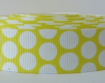 Yellow 22mm Polka Dot Grosgrain Ribbon