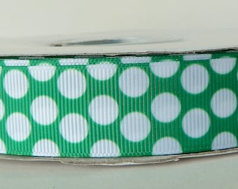 Green 22mm Polka Dot Grosgrain Ribbon