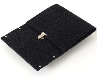 iPad Air Sleeve, Case, Clutch, Cover, Bag - black synthetic felt handmade by SleeWay