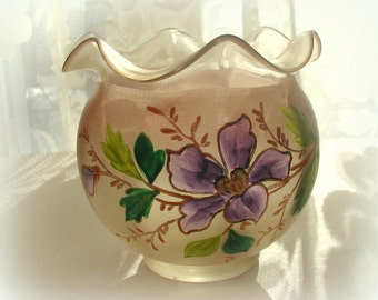 Vintage Art Glass Rose Bowl Hand Blown and Enamelled Floral Pink Glass Vase