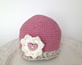Knitted baby hat, girl hat, cotton hat, pink hat