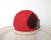 Hat for baby 0-3 months- hand knitted, 100% cotton - TinyLoveGifts