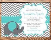 Teal Elephant Baby Shower Invitation, Elephant Baby Shower invitation, Baby shower invitation boy, girl, Gray, teal, printable, 1285