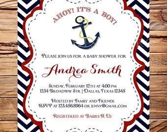 Baby Shower Invitation boy, Anchor Boy Shower, Boat, Boy, Girl, Blue, Pink, Navy, Chevron Stripes, Nautical Baby Boy Shower, 1015