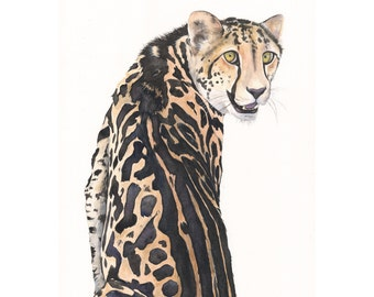 Cheetah Watercolor Painting- animal art- print of watercolor painting A4 print