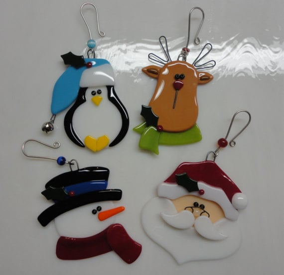 Fused glass christmas ornament set reserved for lori