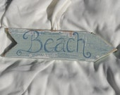 BEACH Shabby chic beach cottage distressed reclaimed eco friendly sign