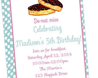 Sweet and Simple Donut/Breakfast Party Invitation-DIY PRINTABLE