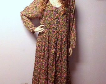 Vtg 90's Indian Cotton Gauze  floral MAXI Dress BOHO Festival Sz  Large