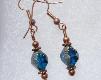 SALE Capri Blue Czech Glass Copper Dangle Earrings