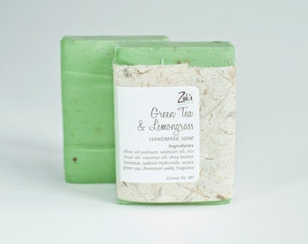 Green Tea & Lemongrass Handmade Soap