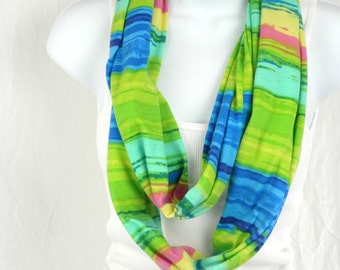 Long Skinny Infinity Scarf Vivid Lime and Royal Blue Striped Jersey Knit Skinny Scarf Beach Fashion