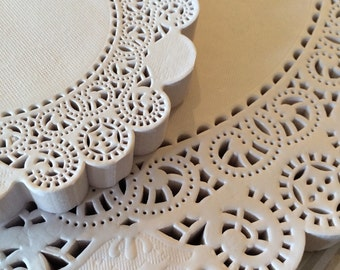 """250 French Lace Round Paper Doilies - 5 inch white doily - 5"""" Extra Small"""