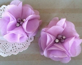 "Chiffon Flowers LAVENDER with rhinestones & pearl centers (4 pcs) Whitney shabby chiffon layered flowers 2.5""  Hair shoe headband"