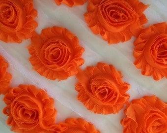 """Orange Tangerine Shabby Rose Trim 2.5"""" Shabby Flowers Shabby Chiffon Flowers Solid Shabby Chic Trim Wholesale Rosette trim 6cm 1 yard #207"""