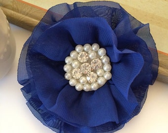 Royal Blue Fabric Flowers - 3.5' soft chiffon and sheer layered fabric flowers with rhinestone pearl centers Hair hat boutique flowers Lorna