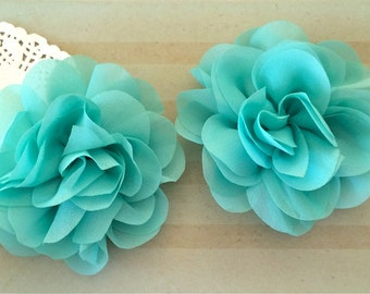 "Aqua Soft Petal Rose Flowers Flowers ( 2 pieces) 3"" chiffon flower Wholesale Flowers Headband Flowers Chiffon Flower  Sara embellishment"