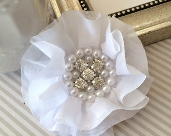 "White Fabric Flowers 3"" soft chiffon & sheer layered fabric flowers with rhinestone pearl centers Hair hat boutique flowers Lorna"