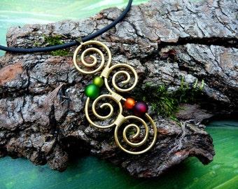 Necklace - Aotearoa - with polarisbeads GREEN, ORANGE & RED -  New Zealand Koru wire wrapped - Brass Goa Hippie Gypsy Necklace