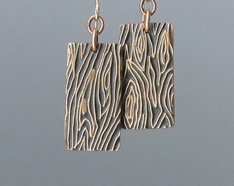 Bronze Metal Clay Earrings, Textured Metal Earrings, Wood Grain Pattern, Embossed Earrings, Metal Earrings, SRAJD