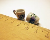 1 pc purple flower coffee mug ceramic hand painted dollhouse miniature supply deco