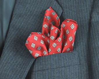 Men's Pocket Square Bright Red Handkerchief Hanky Mens Fashion Father's Day Gentleman's Gift