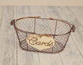 "Large ""Cards"" Sign  WITH WIRE BASKET for Your Rustic, Country, Shabby Chic Wedding- or  birthdays, anniversaries, graduation. Ready to Ship."