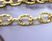 """38"""" Shiny Cut Dot O Loop  Aluminum Chunky Curb Chain Thickness 3mm Loop 15mmx20mm Gold Plated Long Chain"""