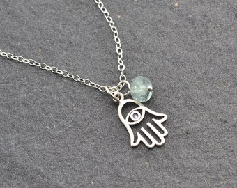 Hamsa Hands and Evil Eye Necklace, Good Luck Charm,Personalized Necklace, Bridesmaid Gift, Graduation Gift, Birthstone Necklace